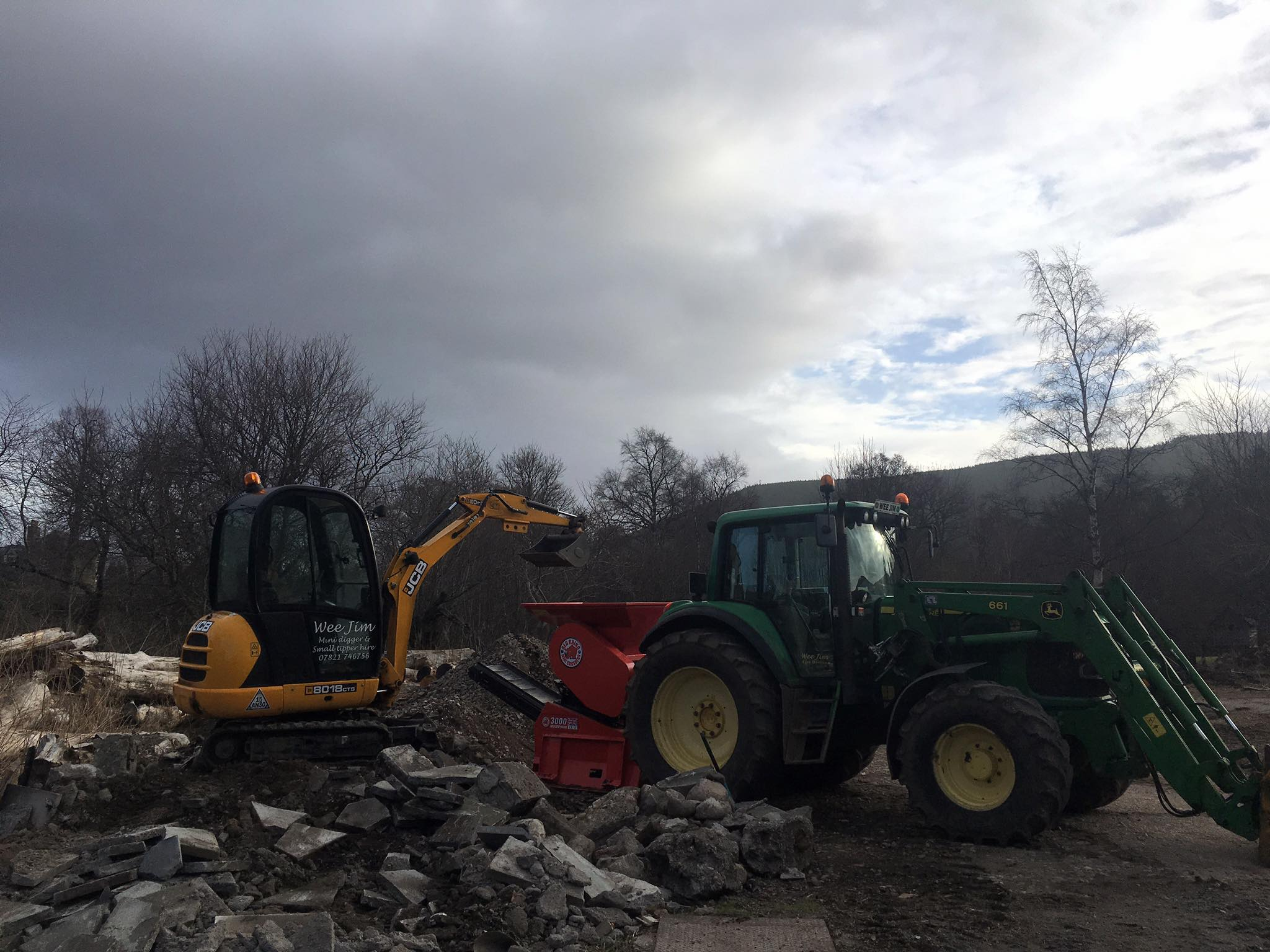 JCB 8018, John Deere 6520 with loader and Red Rhino 3000 crusher